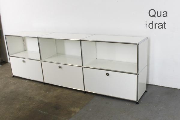 usm haller sideboard lowboard weiss 3 klappen und 3 offene f cher. Black Bedroom Furniture Sets. Home Design Ideas